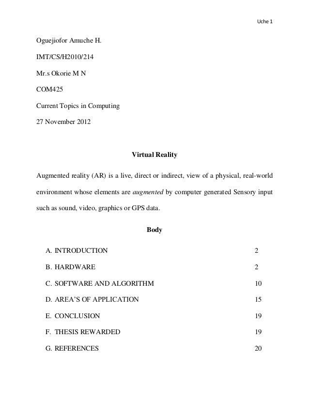 Uche 1Oguejiofor Amuche H.IMT/CS/H2010/214Mr.s Okorie M NCOM425Current Topics in Computing27 November 2012                ...