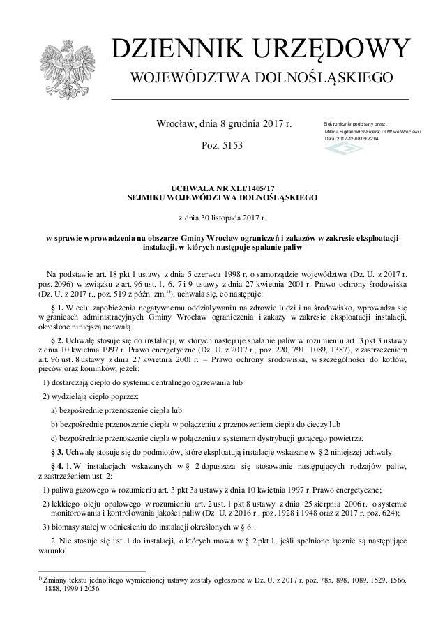 UCHWAŁA NR XLI/1405/17 SEJMIKU WOJEWÓDZTWA DOLNOŚLĄSKIEGO z dnia 30 listopada 2017 r. w sprawie wprowadzenia na obszarze G...