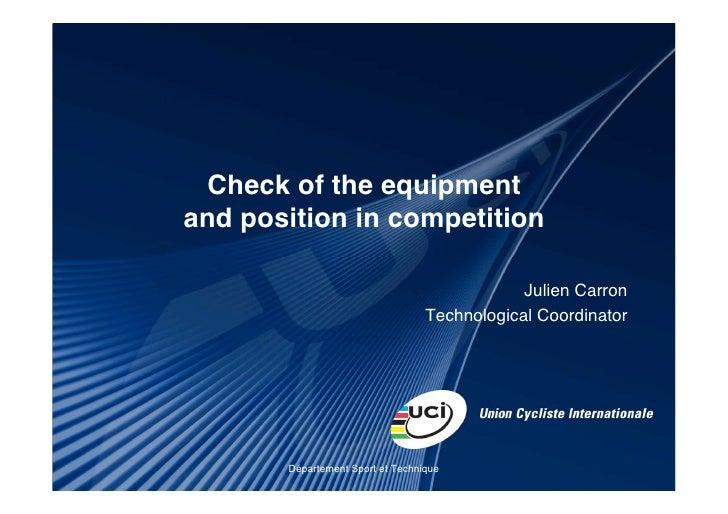 Check of the equipmentand position in competition                                              Julien Carron              ...