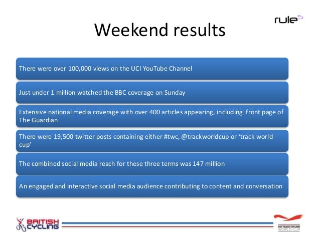 Hourly social media reach Hourly reach for both the hashtag #twc and the phrase 'Track World Cup' peaked at nearly 7 milli...