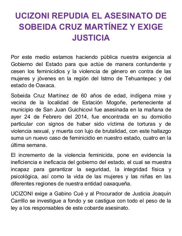 UCIZONI REPUDIA EL ASESINATO DE SOBEIDA CRUZ MARTÍNEZ Y EXIGE JUSTICIA Por este medio estamos haciendo pública nuestra exi...