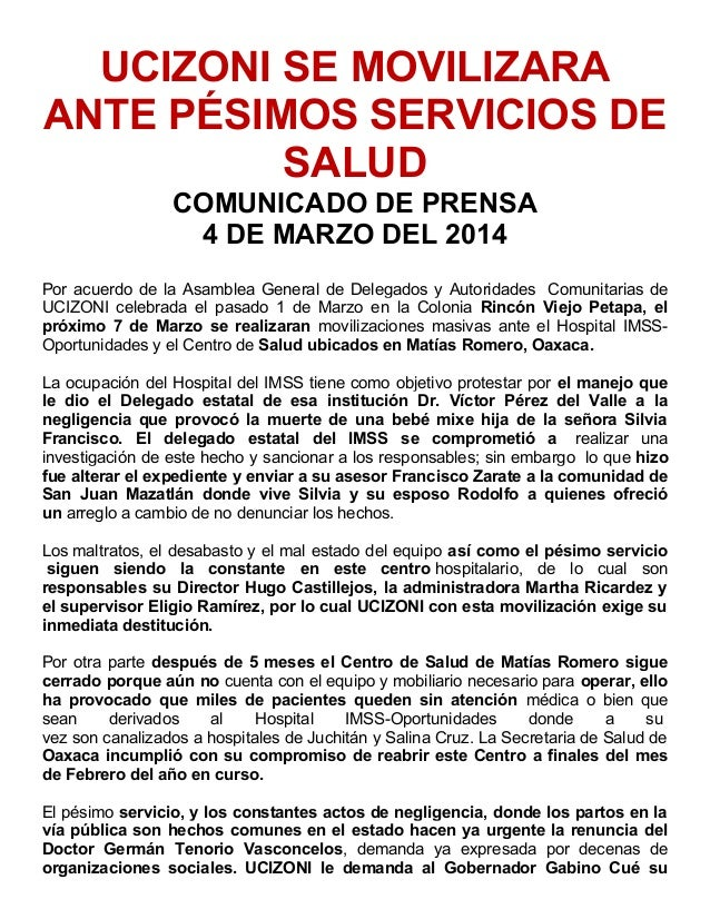 UCIZONI SE MOVILIZARA ANTE PÉSIMOS SERVICIOS DE SALUD COMUNICADO DE PRENSA 4 DE MARZO DEL 2014 Por acuerdo de la Asamblea ...