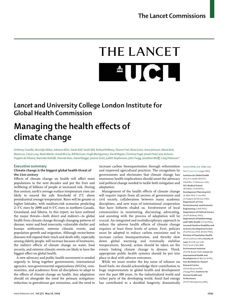 The Lancet CommissionsLancet and University College London Institute forGlobal Health CommissionManaging the health effects...