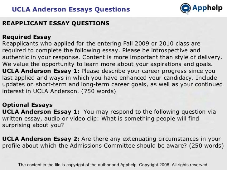 Writing A High School Essay Ucla Anderson  Sample Of Proposal Essay also Topics English Essay Ucla Anderson Essay My Family English
