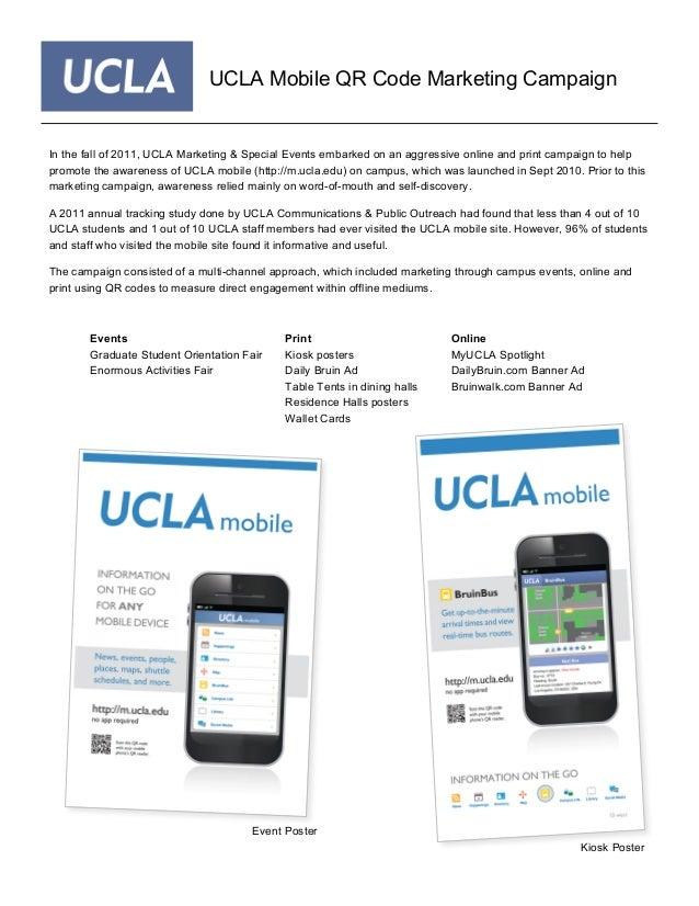 UCLA Mobile QR Code Marketing Campaign Events Graduate Student Orientation Fair Enormous Activities Fair Print Kiosk poste...