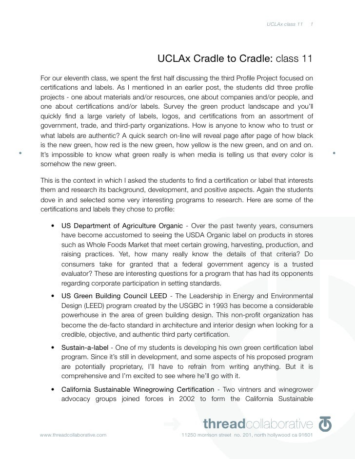 UCLAx class 11    1                                             UCLAx Cradle to Cradle: class 11 For our eleventh class, w...