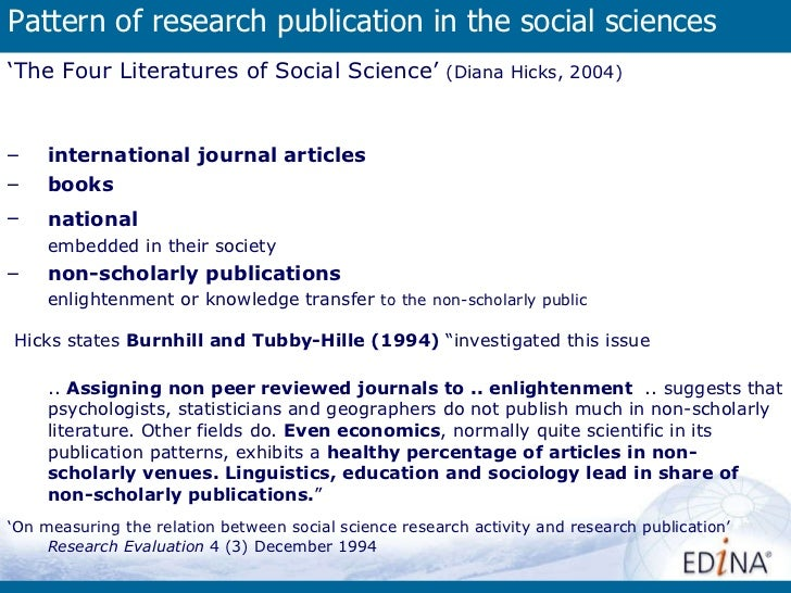 Pattern of research publication in the social sciences  <ul><ul><li>' The Four Literatures of Social Science'  (Diana Hick...