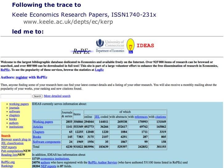 Pattern of research publication in the social sciences  <ul><ul><li>Following the trace to  </li></ul></ul><ul><ul><li>Kee...