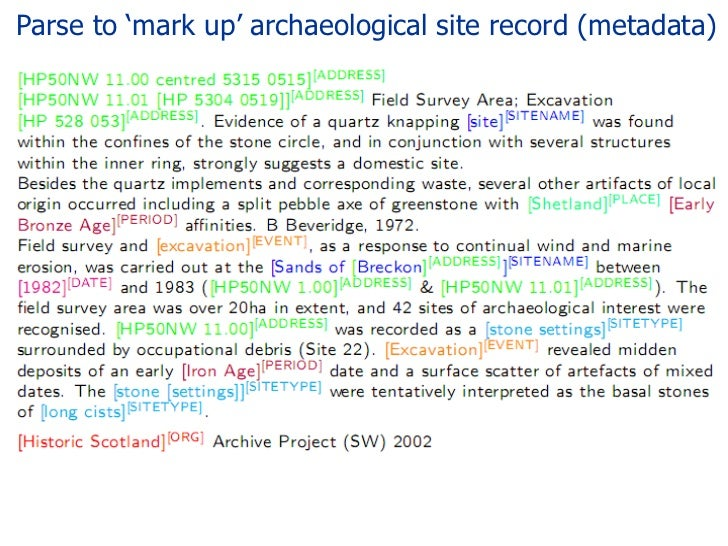 Parse to 'mark up' archaeological site record (metadata)