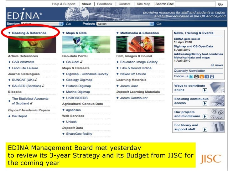 EDINA Management Board met yesterday  to review its 3-year Strategy and its Budget from JISC for the coming year