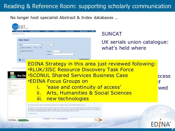 Reading & Reference Room: supporting scholarly communication the Depot  international Open Access   facility to support  s...