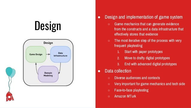 Design ● Design and implementation of game system ○ Game mechanics that can generate evidence from the constructs and a da...