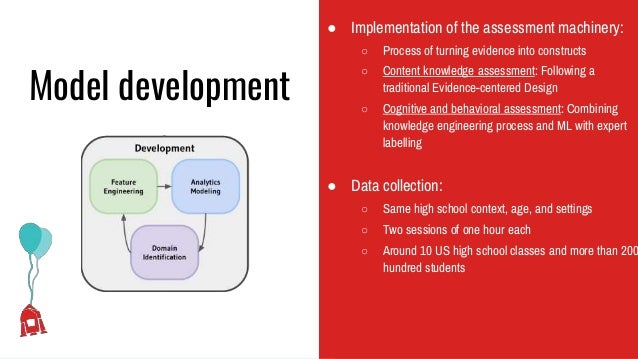 Model development ● Implementation of the assessment machinery: ○ Process of turning evidence into constructs ○ Content kn...