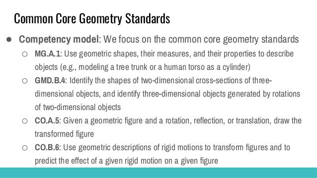 ECD Summary for Geometry Common Standards Assessmement ● Collaboration with geometry specialist, game designer and assessm...