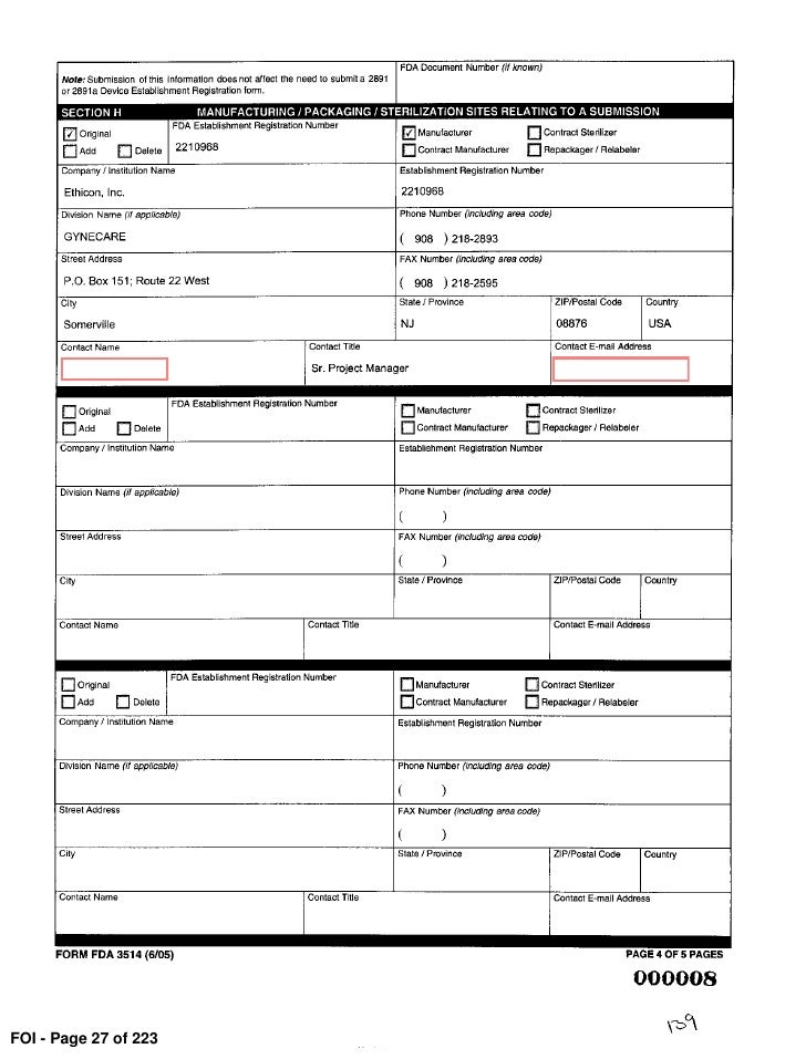 FDA 510(k) submission - redacted