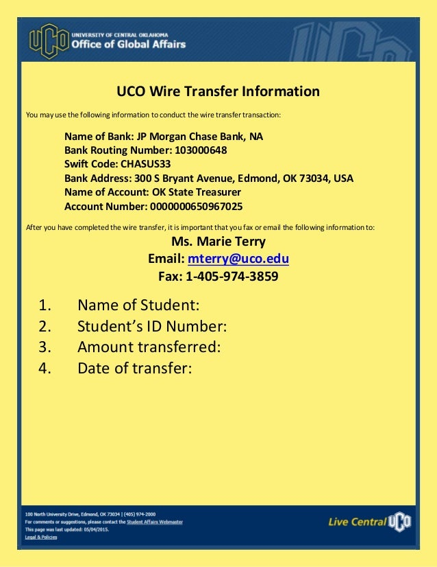 University of Central Oklahoma wire transfer information on chase bank account receipts, chase check template, chase bank interior,