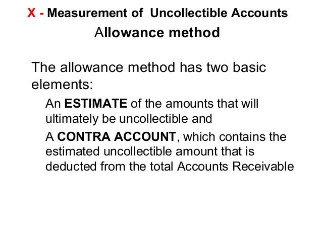 essential features of the allowance method of accounting for bad debts What are the essential features of the allowance method of accounting for bad debts please do not copy and paste answer of the internet reference if needed.