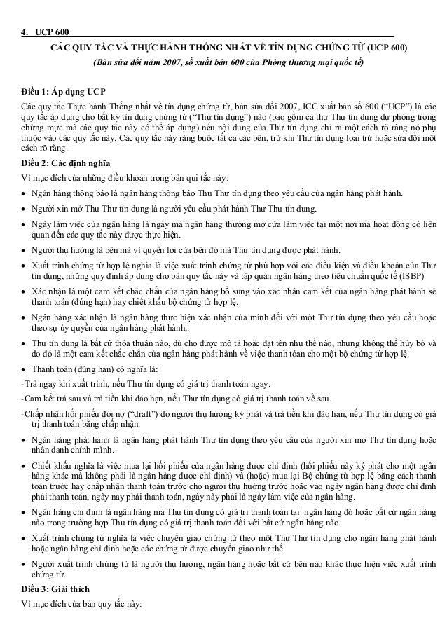4. UCP 600 CÁC QUY TẮC VÀ THỰC HÀNH THỐNG NHẤT VỀ TÍN DỤNG CHỨNG TỪ (UCP 600) (Bản sửa đổi năm 2007, số xuất bản 600 của P...