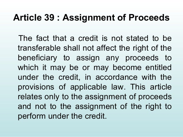assignment of proceeds An assignment of contract occurs when one party to an existing contract (the assignor) hands off the contract's obligations and benefits to another party (the assignee) ideally, the assignor wants the assignee to step into his shoes and assume all of his contractual obligations and rights in.