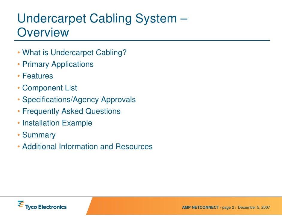 on undercarpet wiring