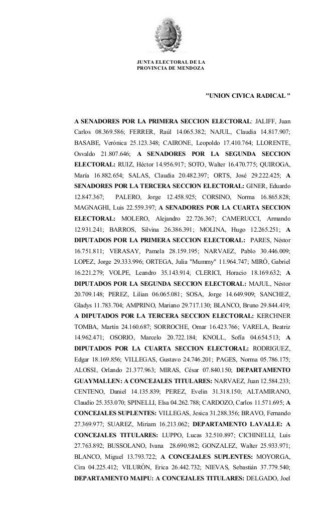"""JUNTA ELECTORAL DE LA PROVINCIA DE MENDOZA  """"UNION CIVICA RADICAL """"  A SENADORES POR LA PRIMERA SECCION ELECTORAL: JALIFF,..."""