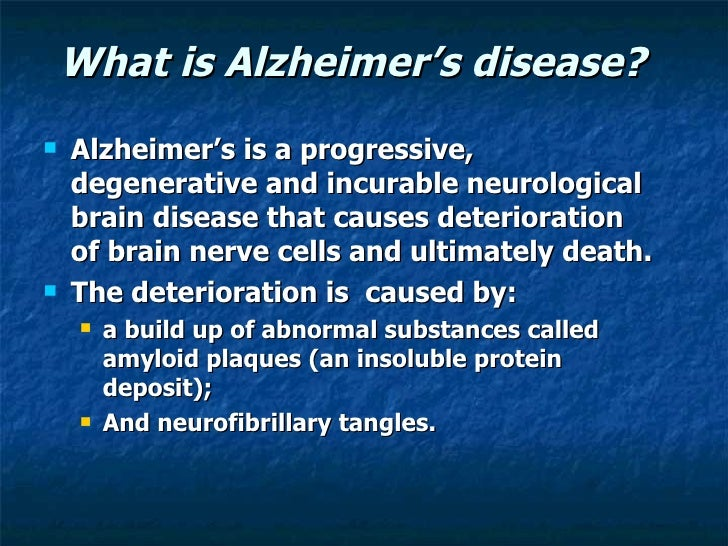 alzheimers disease essay Alzheimers disease - alzheimer's disease introduction to alzheimer's alzheimer's disease is a progressive degenerative disease of the brain it is first described by the german neuropathologist alois alzheimer (1864-1915) in 1905.