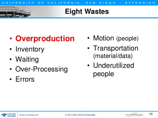 Eight Wastes  • Overproduction • • • •  Inventory Waiting Over-Processing Errors  • Motion (people) • Transportation (mate...