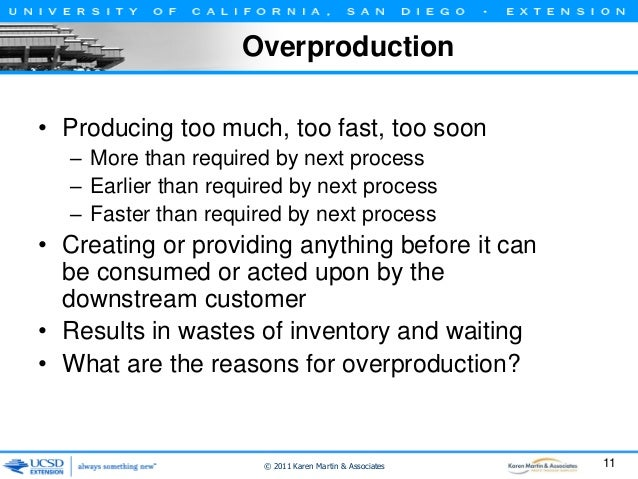 Overproduction • Producing too much, too fast, too soon – More than required by next process – Earlier than required by ne...