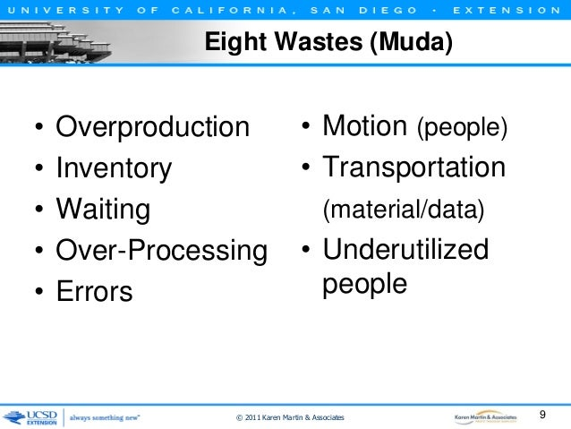 Eight Wastes (Muda)  • • • • •  Overproduction Inventory Waiting Over-Processing Errors  • Motion (people) • Transportatio...