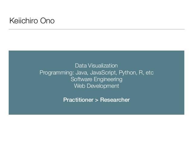 Keiichiro Ono Data Visualization Programming: Java, JavaScript, Python, R, etc Software Engineering Web Development  Prac...