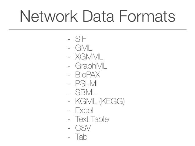Your Data Sets - Anything saved as a table can be loaded into Cytoscape - Excel - Tab Delimited Document - CSV - As long a...