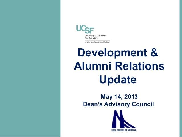 Development &Alumni RelationsUpdateMay 14, 2013Dean's Advisory Council