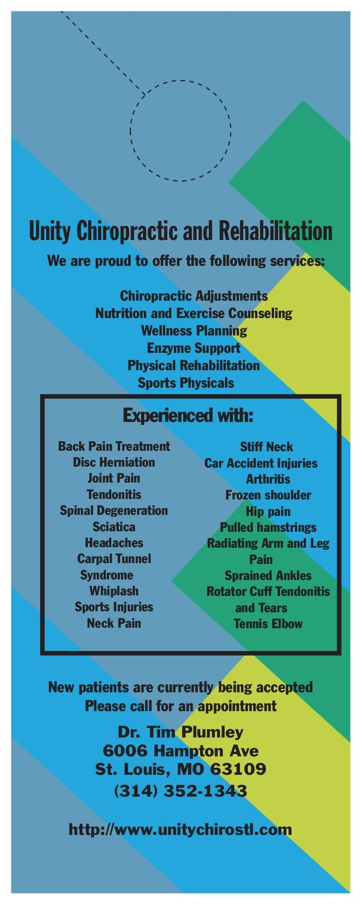 Unity Chiropractic and Rehabilitation  We are proud to offer the following services:             Chiropractic Adjustments ...