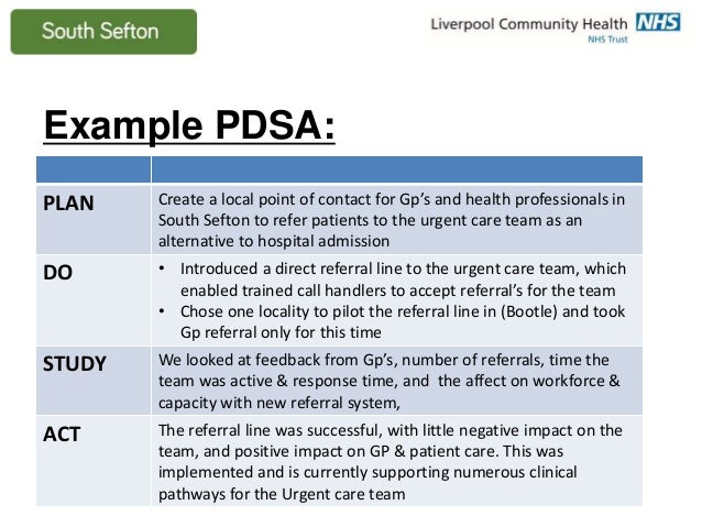 Pdsa In Healthcare Examples