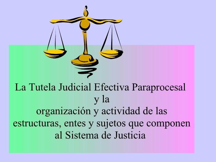 La Tutela Judicial Efectiva Paraprocesal  y la organización y actividad de las estructuras, entes y sujetos que componen a...