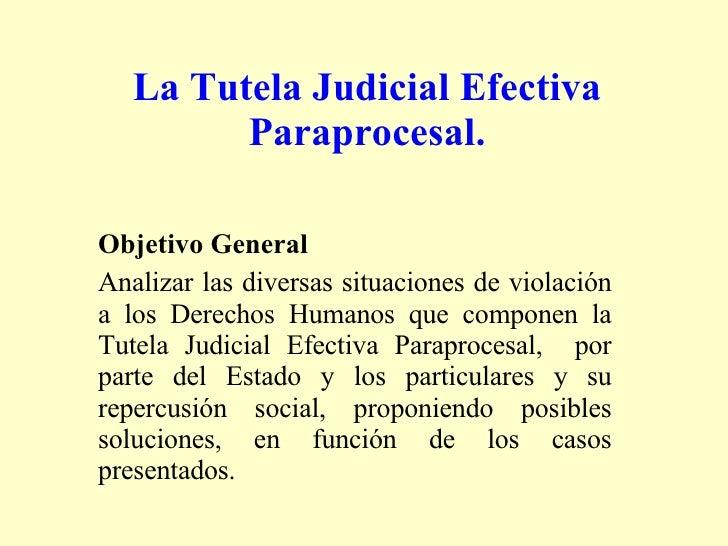 La Tutela Judicial Efectiva Paraprocesal. <ul><li>Objetivo General  </li></ul><ul><li>Analizar las diversas situaciones de...