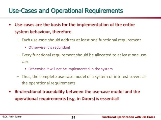 Specification With Use Cases 39 And Operational Requirements