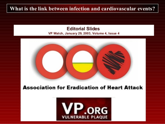 Editorial Slides VP Watch, January 29, 2003, Volume 4, Issue 4 What is the link between infection and cardiovascular event...