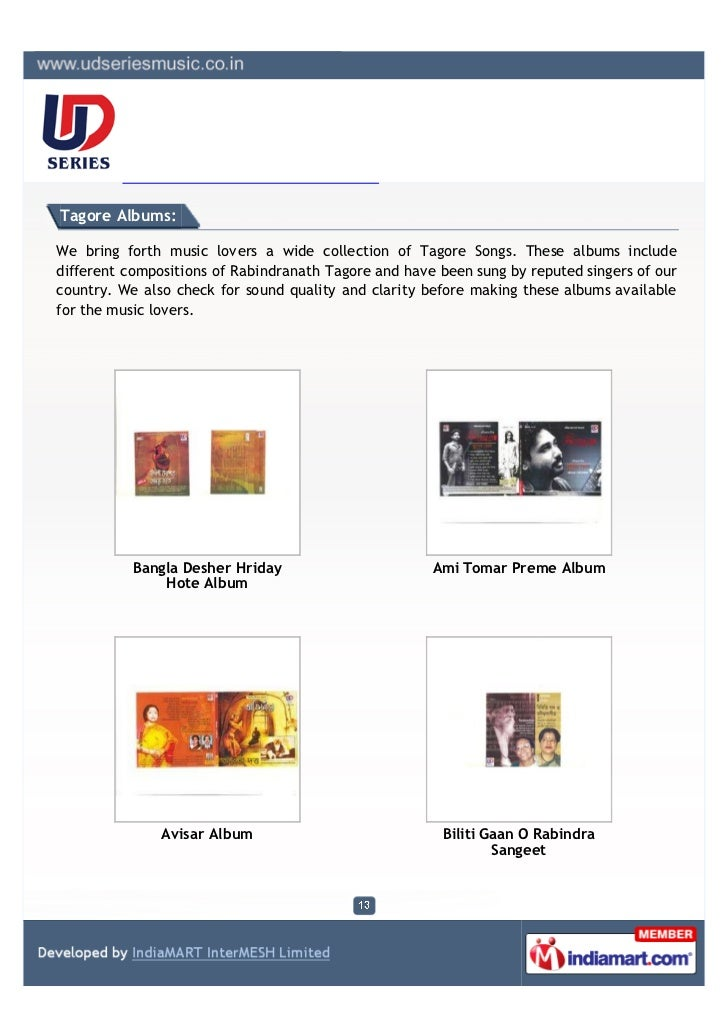 Tagore Albums:We bring forth music lovers a wide collection of Tagore Songs. These albums includedifferent compositions of...