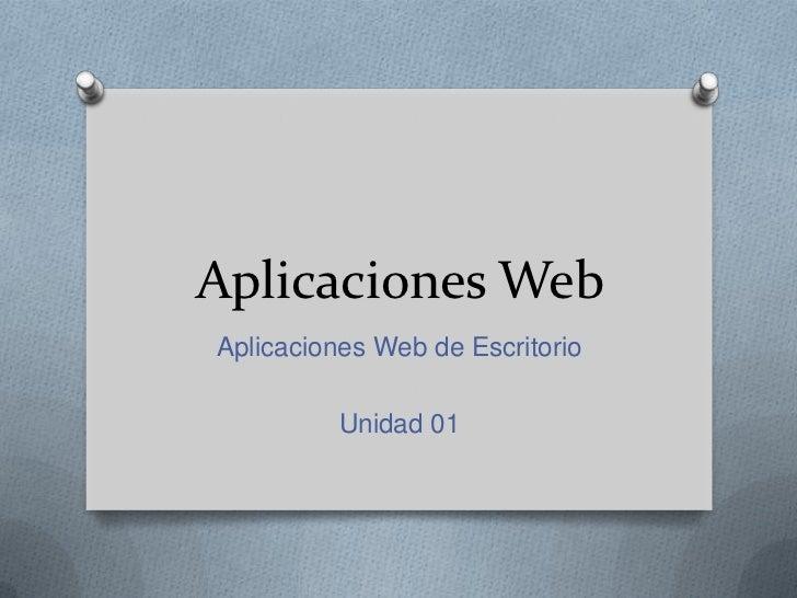 Aplicaciones WebAplicaciones Web de Escritorio          Unidad 01