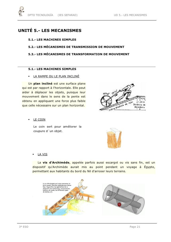 DPTO TECNOLOGÍA      (IES SEFARAD)                          UD 5.- LES MECANISMESUNITÉ 5.- LES MECANISMES      5.1.- LES M...