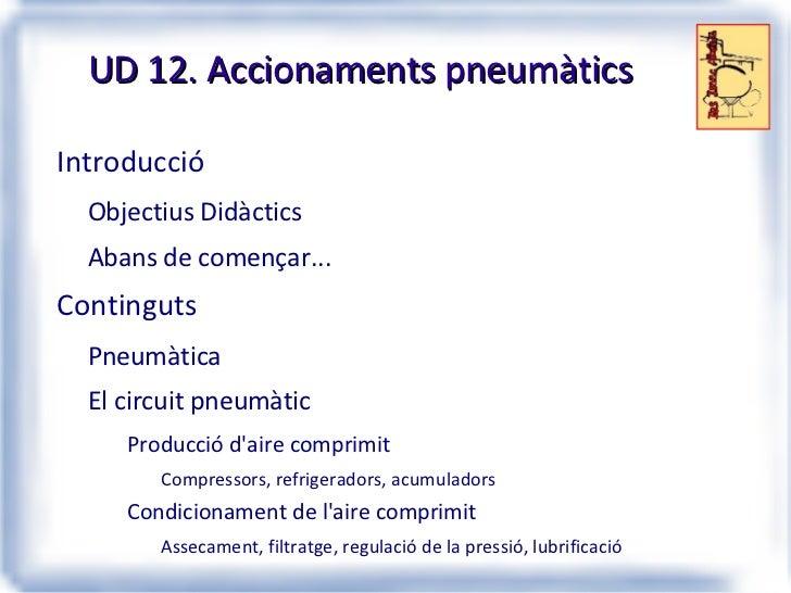 UD 12. Accionaments pneumàtics <ul><li>Introducció </li><ul><li>Objectius Didàctics