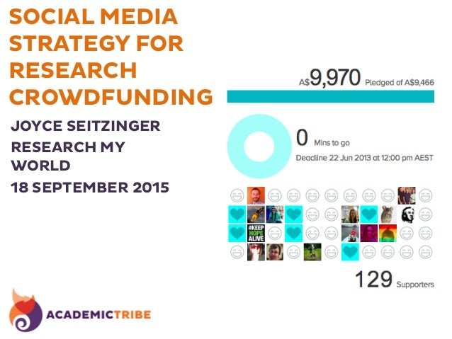 SOCIAL MEDIA STRATEGY FOR RESEARCH CROWDFUNDING JOYCE SEITZINGER RESEARCH MY WORLD 18 SEPTEMBER 2015