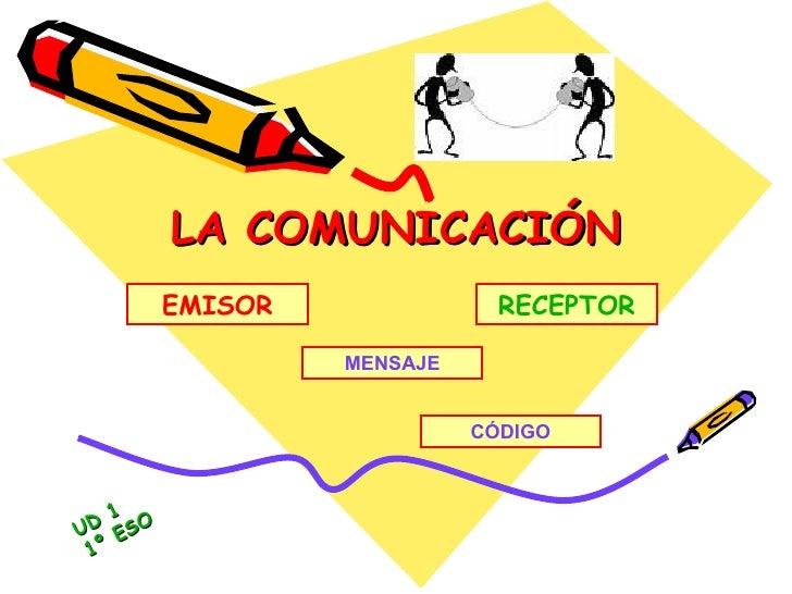 LA COMUNICACIÓN CÓDIGO MENSAJE EMISOR RECEPTOR UD 1 1º ESO