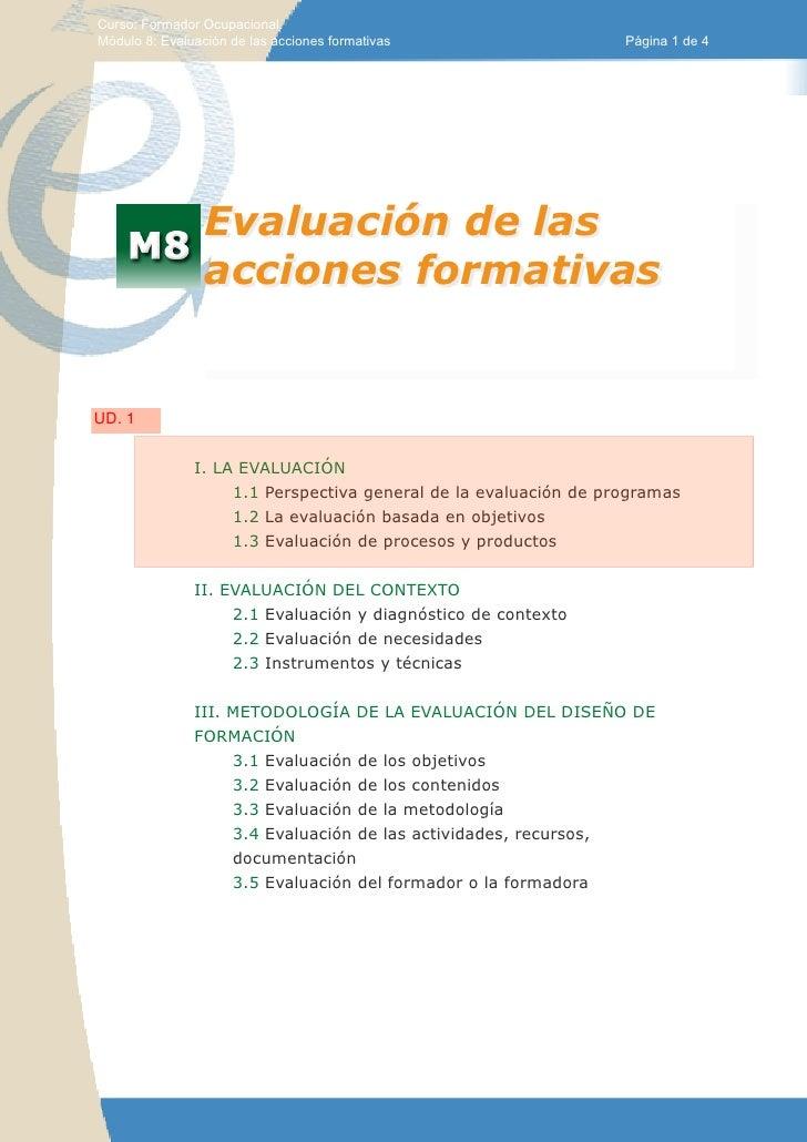 Curso: Formador Ocupacional.Módulo 8: Evaluación de las acciones formativas                   Página 1 de 4               ...