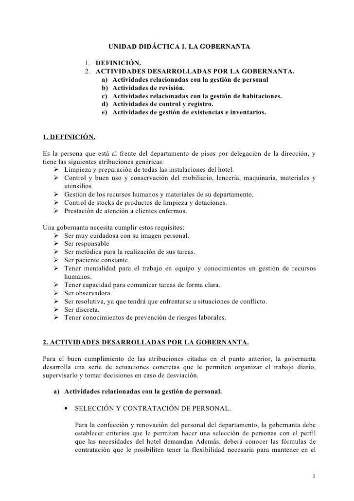 UNIDAD DIDÁCTICA 1. LA GOBERNANTA              1. DEFINICIÓN.              2. ACTIVIDADES DESARROLLADAS POR LA GOBERNANTA....