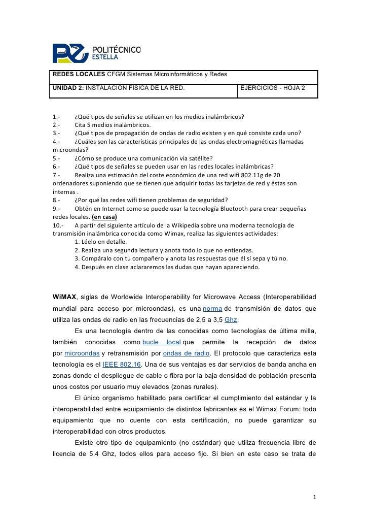 REDES LOCALES CFGM Sistemas Microinformáticos y Redes  UNIDAD 2: INSTALACIÓN FÍSICA DE LA RED.                            ...