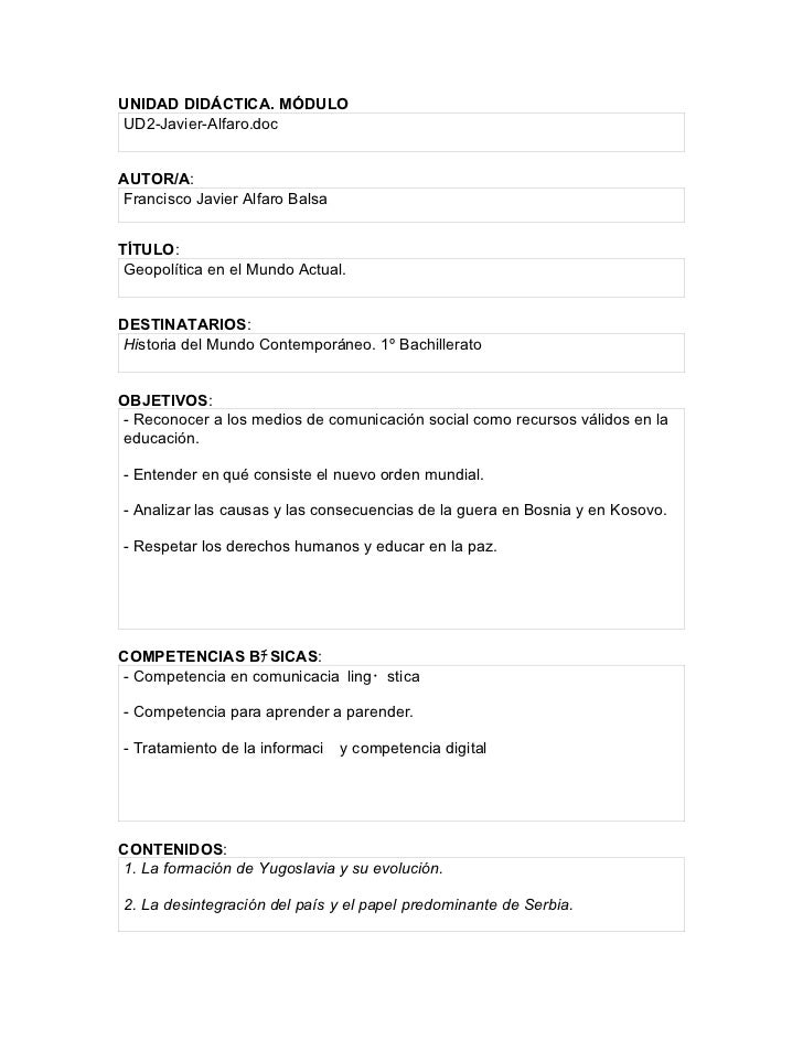 UNIDAD DIDÁCTICA. MÓDULOUD2-Javier-Alfaro.docAUTOR/A:Francisco Javier Alfaro BalsaTÍTULO: Geopolítica en el Mundo Actual.D...