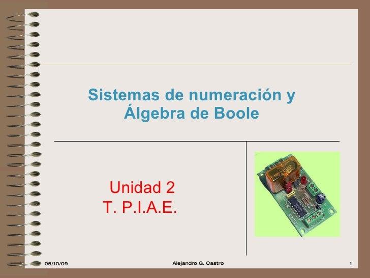 Sistemas de numeración y Álgebra de Boole Unidad 2 T. P.I.A.E.