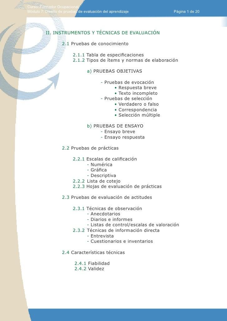 Curso: Formador Ocupacional.Módulo 7: Diseño de pruebas de evaluación del aprendizaje             Página 1 de 20          ...